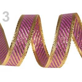 Obojstranná stuha s lurexom  šírka 15 mm fialová 22.5m Stoklasa