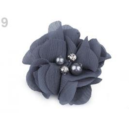 Textilný kvet Ø50 mm s kamienkami modrošedá 10ks Stoklasa