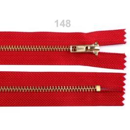 Kovový /  mosadzný zips šírka 4 mm dĺžka 18 cm nohavicový High Risk Red 1ks Stoklasa