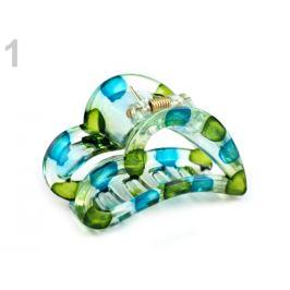 Štipec do vlasov 4x6,2 cm srdce zelenomodrá tm 1ks Stoklasa