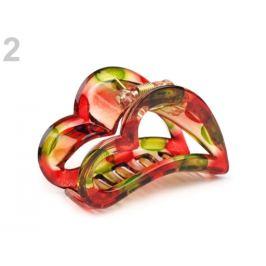 Štipec do vlasov 4x6,2 cm srdce červená  1ks Stoklasa