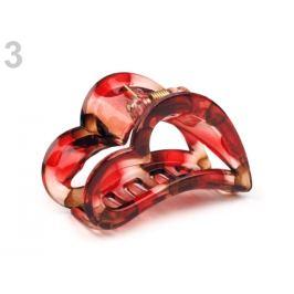 Štipec do vlasov 4x6,2 cm srdce červená karmínová 1ks Stoklasa