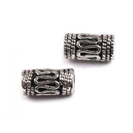 Kovové koráliky valček koncovky na šnúrky 5x10 mm platina 500ks Stoklasa