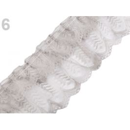 Silónová čipka / volánik šírka 85 mm riasená šedá sv. 13.5m Stoklasa