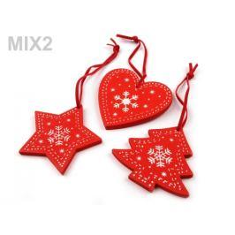Drevená vianočná dekorácia sada 3 ks červená 1sáčok Stoklasa