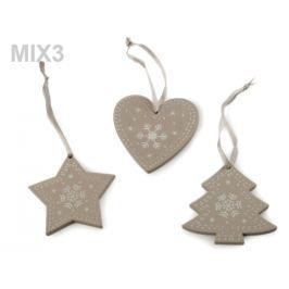 Drevená vianočná dekorácia sada 3 ks šedá sv. 1sáčok Stoklasa