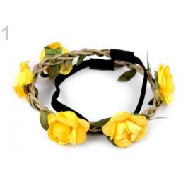 Pružná čelenka do vlasov s ružami žltá 1ks Stoklasa
