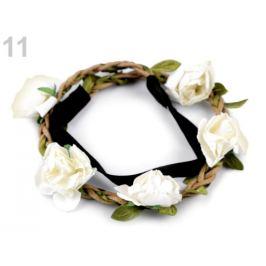Pružná čelenka do vlasov s ružami krémová sv. 1ks Stoklasa