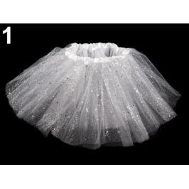 Karnevalová sukienka s glitrami biela 1ks Stoklasa