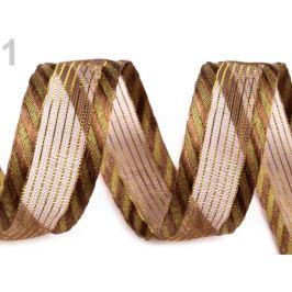 Stuha s lurexom  šírka 25 mm hnedá sv. 22.5m Stoklasa