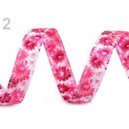 Obojstranná stuha  kvety šírka 13 mm ružová 18m Stoklasa