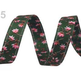 Obojstranná stuha kvety šírka 10 mm zelená piniová 22.5m Stoklasa