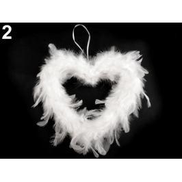 Dekorácia srdce z peria biela 1ks Stoklasa