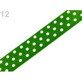 Saténová stuha s bodkami šírka 19 mm zelená irská 21.5m Stoklasa