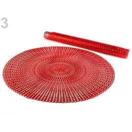 Metalické prestieranie Ø41 cm červená tm 2ks Stoklasa
