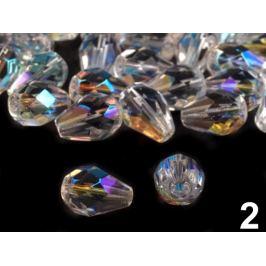 Sklenené koráliky brúsené kvapky 7x10 mm crystal AB 40ks