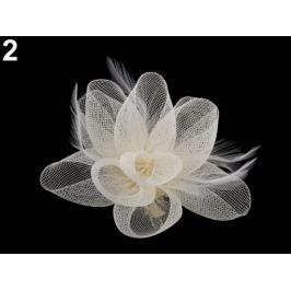 Brošňa / ozdoba do vlasov kvet s perím krémová najsvetl 1ks Stoklasa