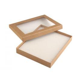 Krabička s priehľadom  polstrovaná 16x19,5 cm hnedá prírodná 1ks Stoklasa