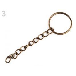 Krúžok na kľúče 25 mm s retiazkou staromosadz 10ks Stoklasa