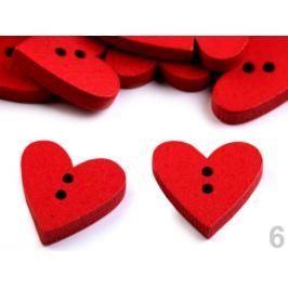 Drevený dekoračný gombík srdce červená 10ks Stoklasa