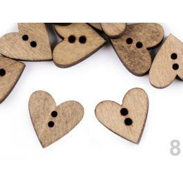 Drevený dekoračný gombík srdce dub 10ks Stoklasa