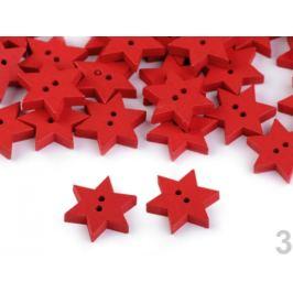 Drevený dekoračný gombík hviezda červená 10ks Stoklasa