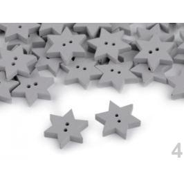 Drevený dekoračný gombík hviezda šedá holubia 10ks Stoklasa