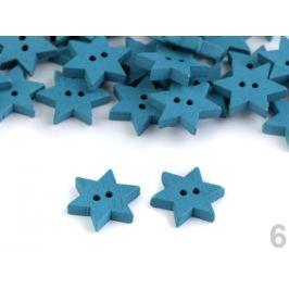 Drevený dekoračný gombík hviezda modrá tyrkys. 10ks Stoklasa