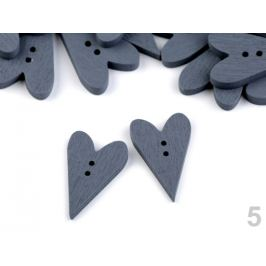 Drevený dekoračný gombík srdce šedá 10ks Stoklasa