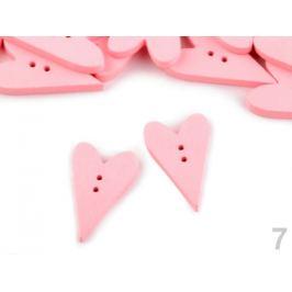 Drevený dekoračný gombík srdce pudrová 10ks Stoklasa