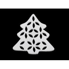 Drevený stromček na nalepenie / na zavesenie / na domaľovanie biela 10ks Stoklasa