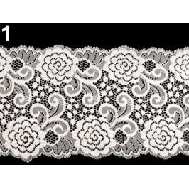 Elastická čipka / vsádka / behúň šírka 15 cm White 13.5m Stoklasa