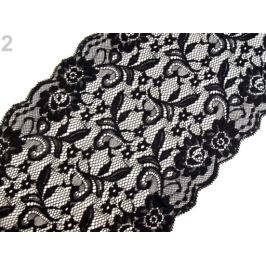 Elastická čipka  / vsádka / behúň šírka 21 cm Black 13.5m Stoklasa