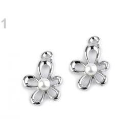 Prívesok 13x18 mm kvet s perlou platina 1ks Stoklasa