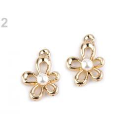 Prívesok 13x18 mm kvet s perlou zlatá 1ks Stoklasa