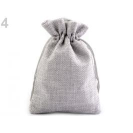Darčekové vrecúško 10x12 cm imitácia juty šedá perlovo 10ks Stoklasa