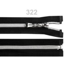 Špirálový zips so striebornými zúbkami šírka 7 mm dĺžka 55 cm Black 1ks Stoklasa
