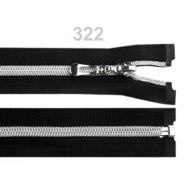 Špirálový zips so striebornými zúbkami šírka 7 mm dĺžka 60 cm Black 1ks Stoklasa