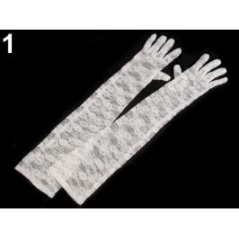 Dlhé spoločenské rukavice čipkované biela 1pár Stoklasa