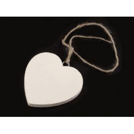 Drevené srdce Ø70 mm s motúzikom biela 6ks Stoklasa