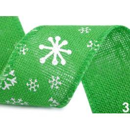Jutová stuha vločky šírka 60 mm zelená irská 22.5m Stoklasa