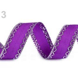 Stuha s lurexom šírka 25 mm fialová 18m Stoklasa