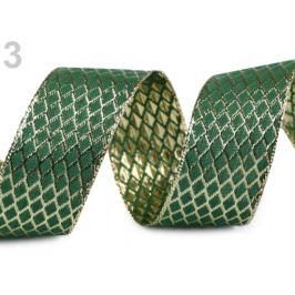 Stuha s lurexom a drôtom šírka 40 mm zelená jedla 18m Stoklasa