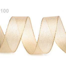 Stuha s lurexom šírka 25 mm zlatá svetlá 25m