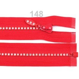 Kostený zips šírka 4 mm dĺžka 65 cm so štrasovými kamienkami High Risk Red 1ks Stoklasa