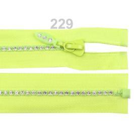 Kostený zips šírka 4 mm dĺžka 65 cm so štrasovými kamienkami lime 1ks Stoklasa