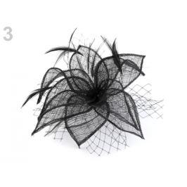 Fascinátor / brošňa kvet s perím čierna 1ks Stoklasa