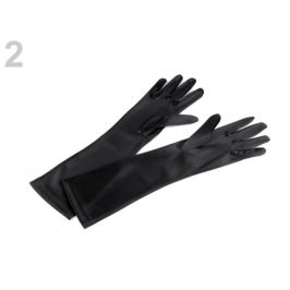 Dlhé spoločenské rukavice saténové čierna 1pár