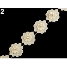 Čipka kvet s perlou šírka 40 mm krémová sv. 1m Stoklasa