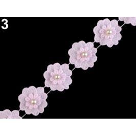 Čipka kvet s perlou šírka 40 mm ružová najsv. 1m Stoklasa